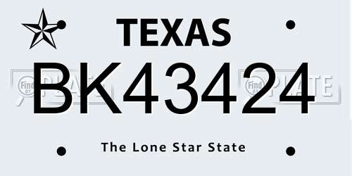 BK43424 Texas License Plate