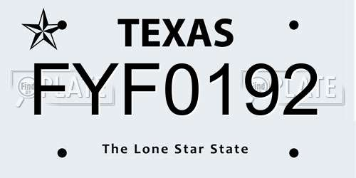 FYF0192 Texas License Plate