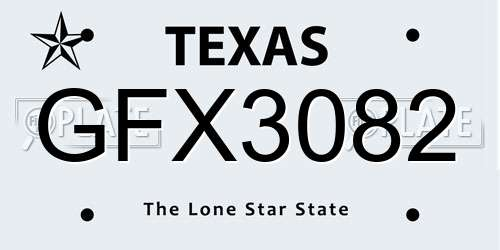GFX3082 license plate in TX state