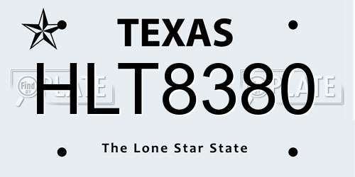 HLT8380 license plate in TX state