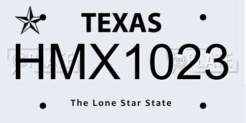 HMX1023 license plate in TX state