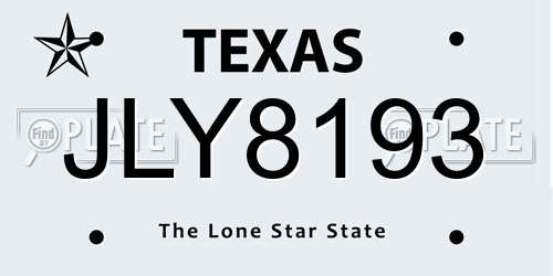 JLY8193 Texas License Plate