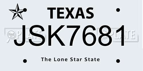 JSK7681 Texas License Plate