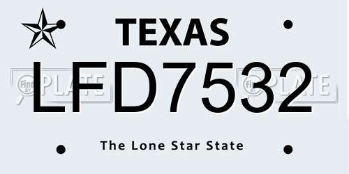 LFD7532 Texas License Plate