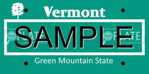 Sample Vermont License Plate