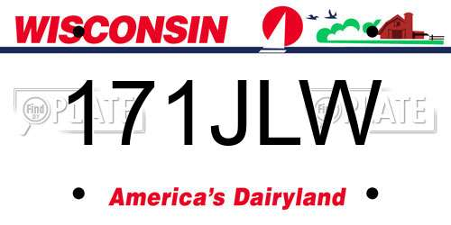 171JLW Wisconsin License Plate