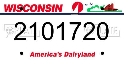 2101720 Wisconsin License Plate