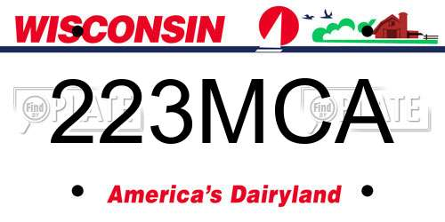 223MCA license plate in WI state