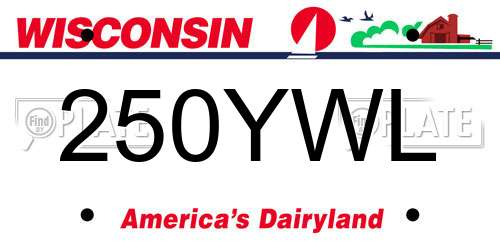 250YWL Wisconsin License Plate