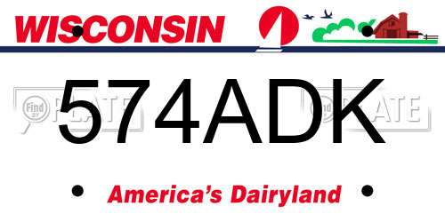 574ADK Wisconsin License Plate