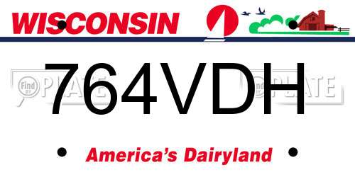 764VDH Wisconsin License Plate
