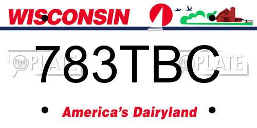 783TBC Wisconsin License Plate