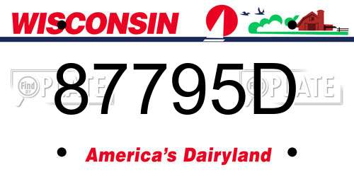 87795D Wisconsin License Plate