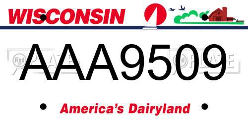 AAA9509 Wisconsin License Plate