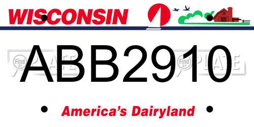 ABB2910 Wisconsin License Plate
