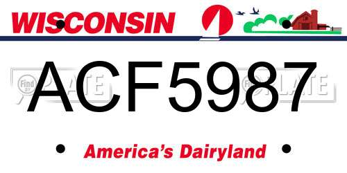 ACF5987 Wisconsin License Plate