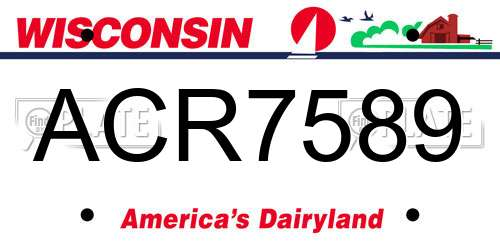 ACR7589 Wisconsin License Plate