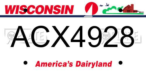 ACX4928 Wisconsin License Plate