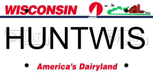 HUNTWIS Wisconsin License Plate