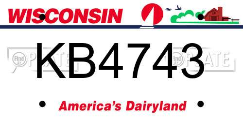 KB4743 Wisconsin License Plate
