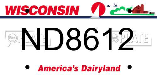 ND8612 Wisconsin License Plate