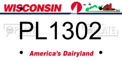PL1302 Wisconsin License Plate