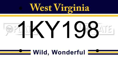 1KY198 West Virginia License Plate