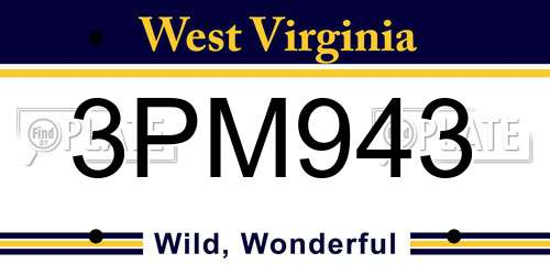 3PM943 West Virginia License Plate