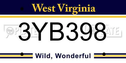 3YB398 West Virginia License Plate