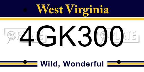 4GK300 West Virginia License Plate