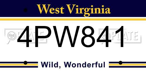 4PW841 West Virginia License Plate