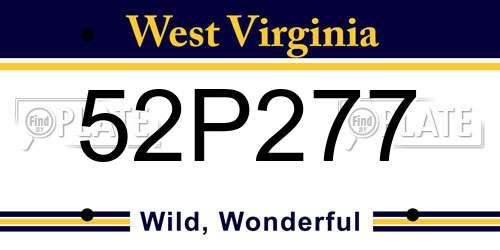 52P277 West Virginia License Plate