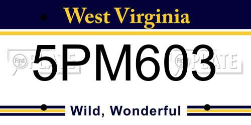 5PM603 West Virginia License Plate