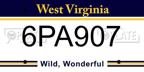 6PA907 West Virginia License Plate