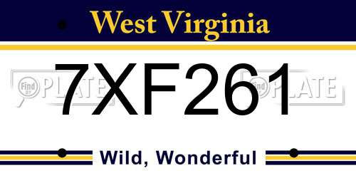 7XF261 West Virginia License Plate