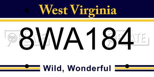 8WA184 West Virginia License Plate