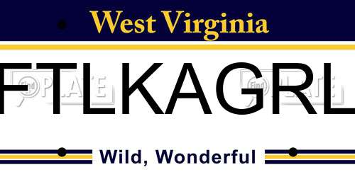FTLKAGRL West Virginia License Plate