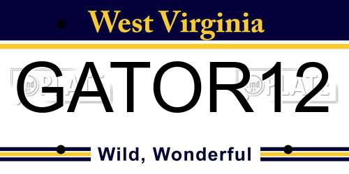GATOR12 West Virginia License Plate