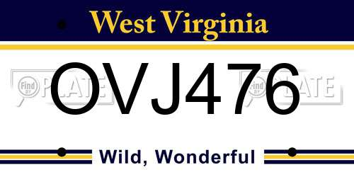 OVJ476 West Virginia License Plate