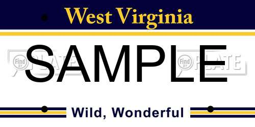 Sample West Virginia License Plate