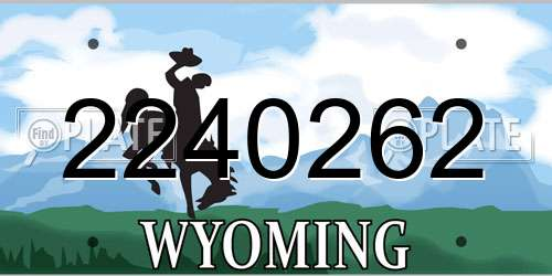 2240262 Wyoming License Plate
