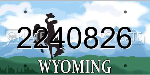 2240826 Wyoming License Plate